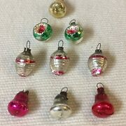 Antique Lot 9 Miniature  Hand Blown Glass Christmas Ornaments Bell, Indent