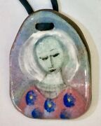 Hard-to-find Lovely Polia Pillin Ceramic Pendant Floral Woman C. 1960-1970s