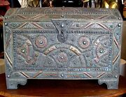 Antique Middle Eastern Dowry Chest Tooled Metal / Copper Enamel W/curved Lid