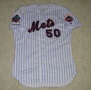 2002 New York Mets John Thomson Game Used Worn Home Jersey W/ 9/11 And 40th Patch