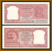 India 2 Rupees 1949-1957 P-29a Sig 72 Tiger Face Unc With Pinholes