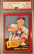 Mike Trout Signed 2014 Topps Heritage Red Border Graded Psa 6 Authentic Auto 9