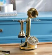Antique Handcrafted Working Candlestick King Brass Vintage Table Top Telephone