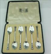 Cased Set Of Solid Silver And Blue Green Enamel Coffee Spoons Liberty And Co 1937