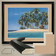40wx32h Tiki Time By Ron Peters - Palm Trees - Double Matte Glass And Frame