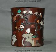 9 Old Chinese Huanghuali Wood Inlay Shell Flower Birds Brush Pot Pencil Vase