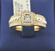 14k Two Tone Gold 1.05 Ct Diamond Menand039s Fancy Band 10.6gm Size 10.25 S104820