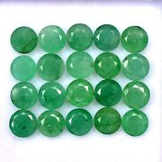 Certified Natural Emerald 5 Mm Round Cut Green Loose Faceted Gemstone Lot