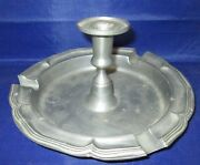 Antique Pewter Ashtray Candle Holder Marked W/ 4 Leaf Clover And Ha 92 Tin
