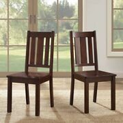 Espresso Mocha Dining Chairs Set Of 2 Kitchen Wood Furniture Mission Style