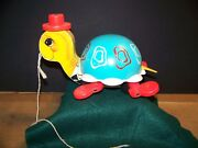 Fisher Price Vintage 773 Tippy Toe Turtle Pull A Long Toy 1962 Clean
