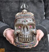 Tibet Crystal Silver Inlay Red Coral Agate Dzi Carve Skull Skeletons Head Statue