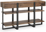 Rustic Industrial Console Table Distressed Reclaimed Plank Wood Top Metal Legs