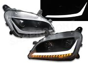Set Of Pair Black Projector Headlights W/ Led Bar And Signal For Peterbilt 579 587
