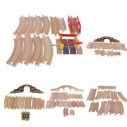 Wooden Train Tracks Toy For Car And Vehicle Railway Railroad Parts Accs Adapters