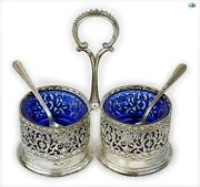 Adorable Antique Silver Filigree Inlay Blue Glass Salt And Pepper Shakers W/spoons