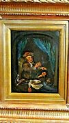 Antique 18c French Old Master Oil Painting Of Dentist Removing Tooth From A Boy