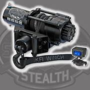 Kfi Products Stealth Winch 2500 Lb Synthetic Cable Rope Atv Utv Handlebar Switch