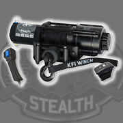 Kfi Stealth Wide Winch 4500 Lb Synthetic Cable Rope Atv Utv Handlebar Switch