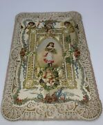 Elaborate Victorian Valentine Card Paper Lace And Flower Girl Cupid 1850s Vintage