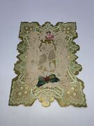 Victorian Valentine Card Paper Lace Green Butterfly Blonde Cupid 1850s Vintage
