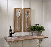 Spoon And Fork Wall Art Plaque Galvanized Metal Distressed Farmhouse Dining Decor