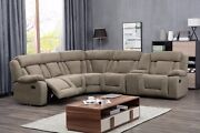 Motion Reclining Unique Tan Fabric Modular Sectional Sofa W Console Wedge Couch
