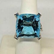 35 Ct Blue Topaz 18k White Gold Square Large Cocktail Ring Amazing Color