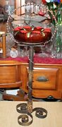 Antique Floor Standing Ashtray Wrought Iron Metal Scrolls Pottery Ashtray