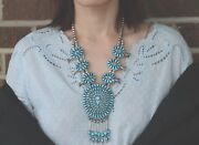 Native American Navajo J. M. Begay Turquoise And Silver Squash Blossom Necklace