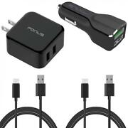 4-in-1 Fast Home Car Qc Charger 6ft Long Two Usb Cable Type-c Phone Cord Usb-c