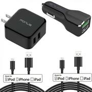 4-in-1 Fast Home Car Quick Charger 6ft Long 2 Mfi Usb Cable For Iphone Ipad Ipod