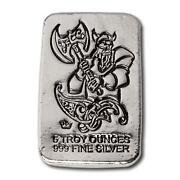 2 - 5 Oz. 999 Fine Silver Bars -1- Monarch Viking Flail And Shield And 1 Battle Axe