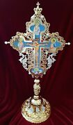 Orthodox Sanctification Cross Gold Plated With Pearls And Standing Base 58cm