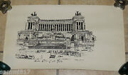 1977 Roma Alter Of The Nation Hand Drawn Detailed 23 X 13.25 Print Annunziata