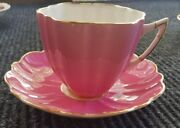 Pink Fairy Shape Victoria Bone China Cup And Saucer, England