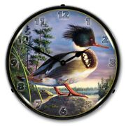 Retro Red Breasted Mergan Led Lighted Backlit Wall Clock Man Cave Garage Sign