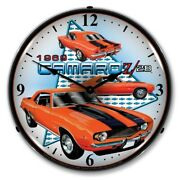 Retro Style 1969 Chevy Camaro Z28 Led Lighted Car Game Room Man Cave Wall Clock