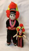 Ethnic Thai Hill Tribe Folk Costume Dolls Asian Porcelain Thailand 15 And 8 Tall