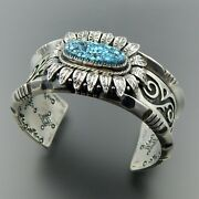 Handcrafted 925 Silver Number 8 Turquoise Overlay Complex Floral Cuff Bracelet