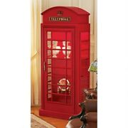 Classic British 6and039 Public Telephone Booth Replica Lighted Cabinet With 4 Shelves