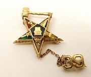 Vtg 14k Gold Order Of The Eastern Star Brooch Pin Tie Tack Badge Emerald Ruby