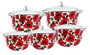 Enamel Cookware Pot Set 10 Pieces With Glass Lid, Red Floral