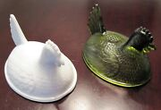 Indiana Glass Co Stippled Hen On A Nest Tops Lids Olive Green Milk White