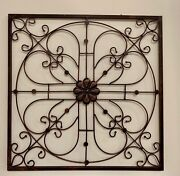 24x 24 Metal Scrolled Wall Decor Medallion Iron Home Decor Antique Finish Grill