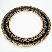 Rare Brownfieldand039s China For And Co. Cobalt And Gold Encrusted Dinner Plate