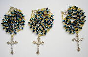 Set Of 3 Rosaries Blue Crystal Beads 6mm With Shapely Cross. Genuine Bargain