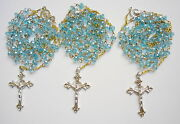 Set Of 3 Rosaries Light-blue Crystal Beads 6mm With Shapely Cross. Real Bargain