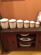 Antique 6 Pc Heavy Nesting Enamel Canister Set Kitchenware Collectibles Gifts