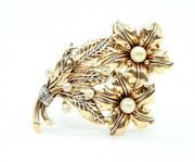 Vintage Retro 18k Yellow Gold Flowers Pin Brooch With Diamonds And Pearls